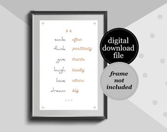 Life Quote - Smile Think Give Laugh Love Dream - Positive Thinking poster, Printable poster, Wall art, Instant download, Rose Gold Poster