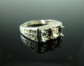 5835 Ring Setting Sterling Silver Size 7.75, (2) 5mm Round Gemstones