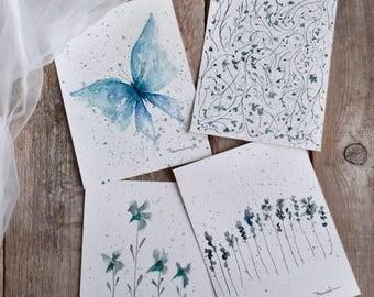 Four illustrations minimal, blue