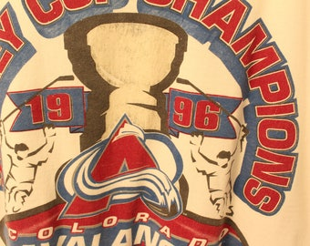 Vintage 1996 Starter Colorado Avalanche Stanley Cup Champions Tee - L