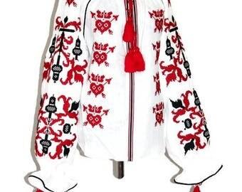Ukrainian Vyshyvanka Boho Clothing Mexican Embroidery Bohemian Blouse White Linen Ethnic Ukraine Vishivanka Woman Mexican Folk Modern Style