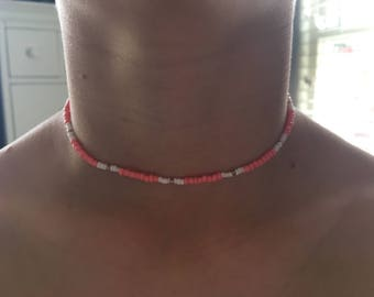 Coral, White and Gold seed bead necklace
