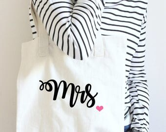 Mrs Tote Bag, Mrs Tote, Bride Tote Bag, Gift For Bride Tote Bag, Wedding Tote Bag, Bridal Bag, New Bride Tote, Wedding Tote, Bridal Tote Bag