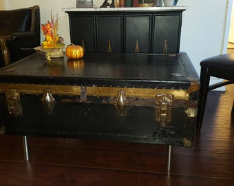 Vintage Luggage Coffee Table, Industrial, Trunk, Home Decor, Storage  Cocktail Table