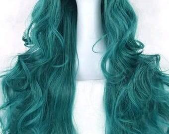 Customizable - GREEN - long curly wavy Wig w/ bangs - scene emo cosplay anime punk lolita mermaid hair styles real Wig -