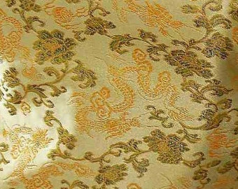 Chinese brocade satin fabric material orane dragon on dull gold embroidered by the 0.5 YARDS, Yards Meters cbs 627