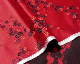 Chinese brocade satin fabric material black red blossom flower on red  embroidered by the 0.5 YARDS, Yards Meters cbs 807