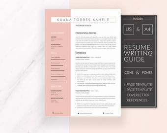 Modern Resume Template | Resume Template for Word | CV Template + Cover Letter & References | Professional Resume | Instant Download | Kuana