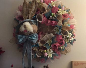 Peter Rabbit Easter Wreath, Sisal Rabbit