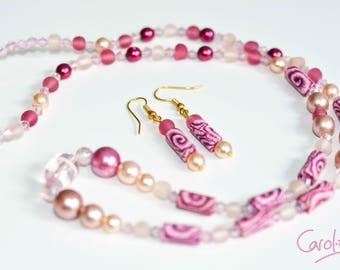 Necklace and Earring Set, Pink, 66cm [S1PI6600009]
