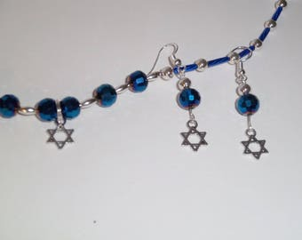 Cobalt Blue Star of David Necklace and Earrings