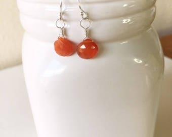 Carnelian earrings, dainty earring,gift for her,birthday gift,sterling silver earrings,Carnelian drops, carnelian, orange earrings