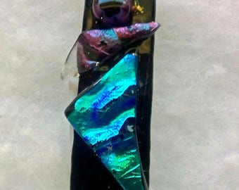 Abstract Textured Kiln Fused Glass pendant