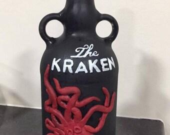 KRAKEN hand painted bottle