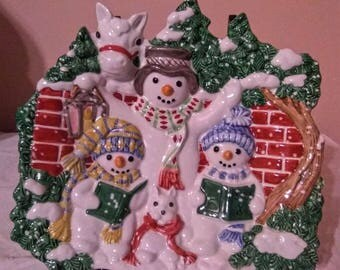 """Fitz and Floyd Essentials """"The Flurries"""" Snowmen Family Canape Plate"""