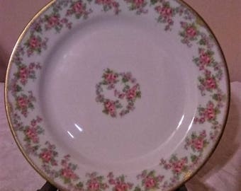 Limoges France Elite Works China Dish With Gold and Pink Floral Design