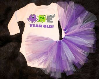 One Year Old! -  onesie / Tutu