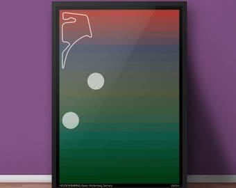 PRINT: Hockenheimring Past and Present Racing Circuit / Motorsport Poster Artwork