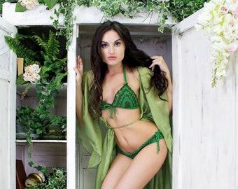 Fairytale beachwear, Original knitted bikini, Handmade swimwear, Wonderfully handcrafted, Green knitted swimwear, Swimset with Swarowski.
