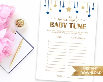 Navy blue Name that baby tune | Twinkle twinkle little star | Printable baby shower game | Baby boy blue theme shower | Name that baby song