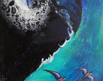 Wave With Birts-Fine Art Oil Painting on Stretched Canvas