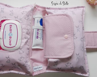 Door Diapers bag pink bunnies-baby-babies-moms-new birth idea-aper clutch-bunny-pink