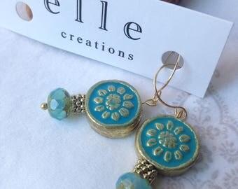 Teal/Aqua Paper Mache & Czech Glass bead drop earring.