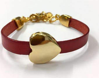 Italian leather Bracelet with Gold Finish Heart and Ferrules In Zamak. M-002-O