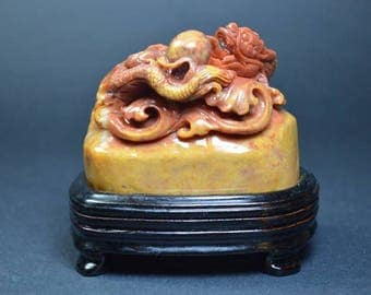 Dragon with Pearl carved in Shoushan stone