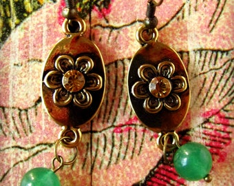 Flower Power Antique Gold and Aventurine Dangle Earrings