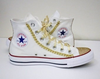 Custom all star converse,gold chains,bling converse