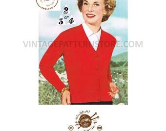 """Ladies easy to knit, V neck, raglan sleeve cardigan 34"""" - 36"""" chest - Vintage PDF Knitting Pattern 237"""