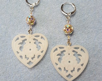 I Love Hearts Dangle Earrings, Vintage Hearts and Swarovski Crystals
