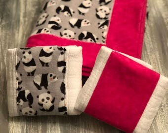 Panda themed flannel baby receiving blanket and burp cloth set