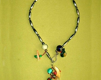 Sterling Silver Necklace with Drop Pendants of Turquoise, Coral, Abalone, Malachite Bear, Moonstone, Floral Cloisonne Bead, Jade and Onyx.