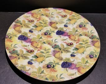 """Floral & Grapes Chintz Baum Brothers """"Formalities"""" China - Yellow Cake Plate"""