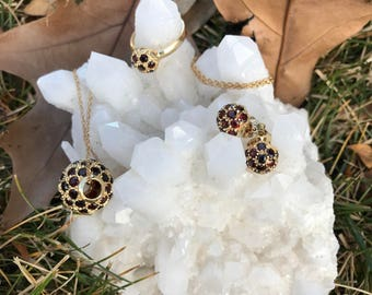 25% OFF thru Valentines Day! Upscale Red Garnet Ensemble from Budapest - 18K Yellow Gold