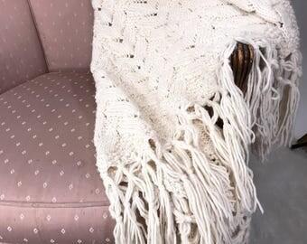 Vintage Handmade Cable Knit White Blanket