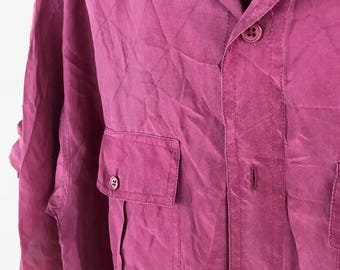 100% Silk 80s Party Shirt - Size M (39/40)