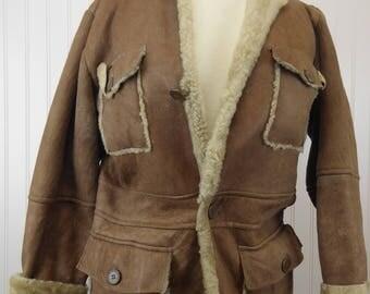 Shearling Fur Leather Vintage Italian Coat by Vecchio Ponte Women's 12