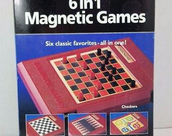 Pressman Vintage 1993 Travel Games To Go 6 in 1 Magnetic Games Model# 2261