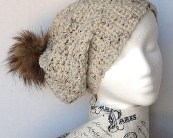 Ladies hat, fur Pom Pom hat, slouch hat