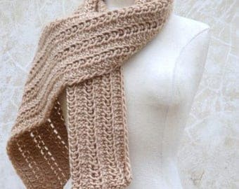 Lace-knit-pattern scarf in latte and hat