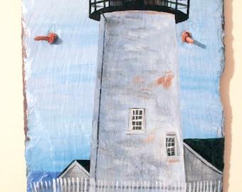 "Original Acrylic Painting on a 9""x16"" Slate Shingle of Pemaquid Point Lighthouse, Maine. Coastal Beauty, Seascape Art. Mid Coast Maine Art"