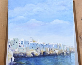 Oil on canvas 20x30 oil painting Polignano a Mare signed by artist Polignanese Italy Craft made 2017 NEW