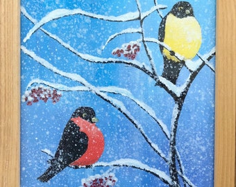 Nature,abstract,wall art,acrylic,winter,birds,tree