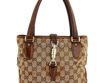 Authentic Vintage Gucci Brown Gg Monogram Canvas Leather Tote Shoulder Bag