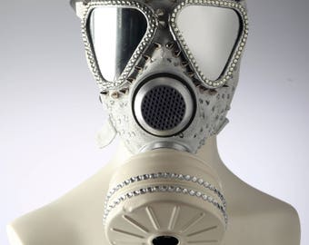 White rhinestone Gas mask, fetish rubber mask, couture mask, fashion accessories
