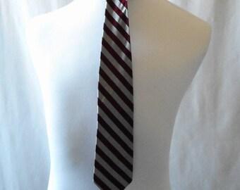 Vintage Marathon Cravat, Retro Tie, Vintage Tie, Marathon, Gray and Maroon, Stripes, Striped, Vintage Cravat, School Ties