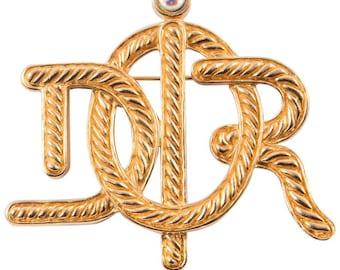 Christian Dior Gold Tone Logo Brooch
